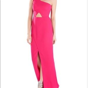 Pink Kauri evening floor length dress with cutout